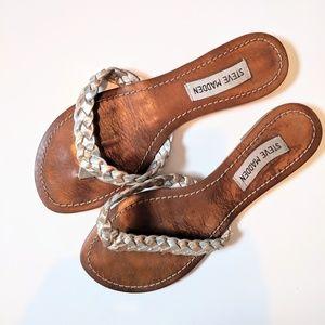 3/25$ Steve Madden mettalic braided sandals